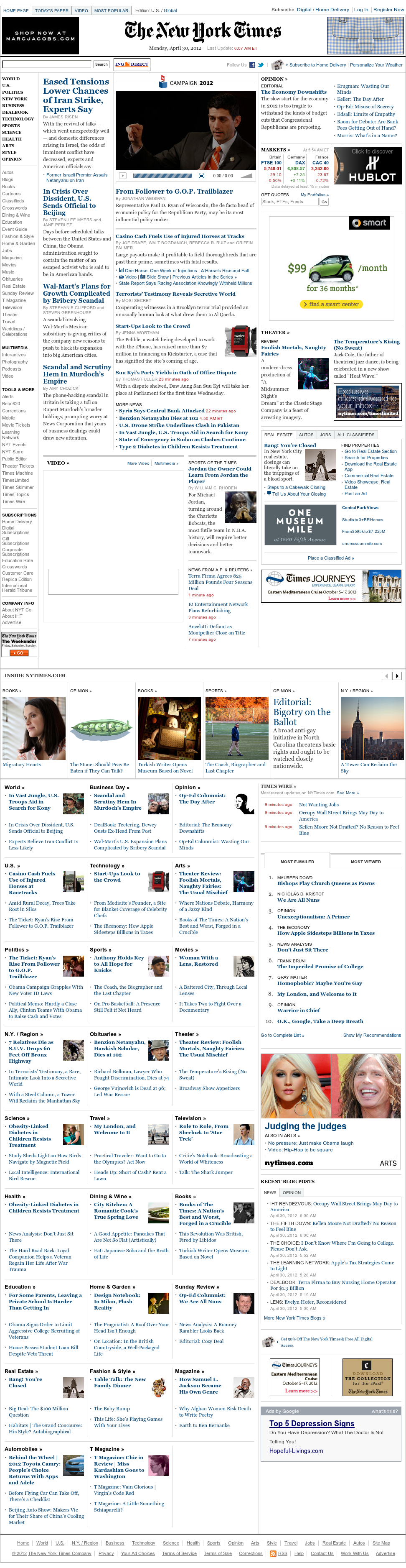 The New York Times at Monday April 30, 2012, 10:09 a.m. UTC