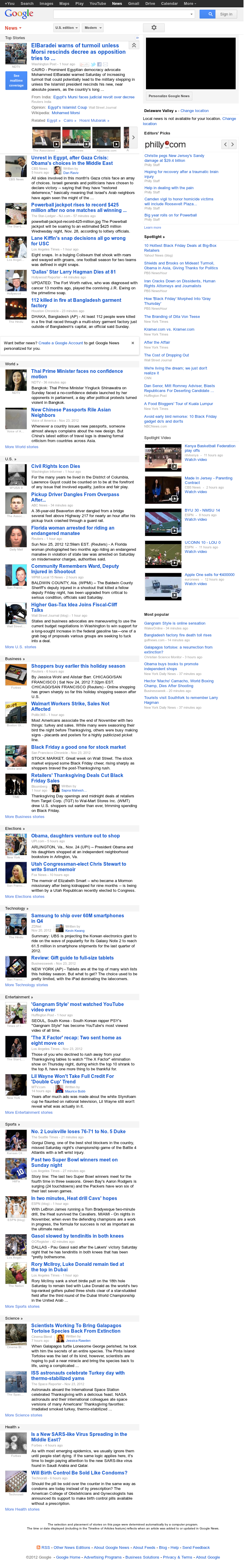 Google News at Sunday Nov. 25, 2012, 7:11 a.m. UTC
