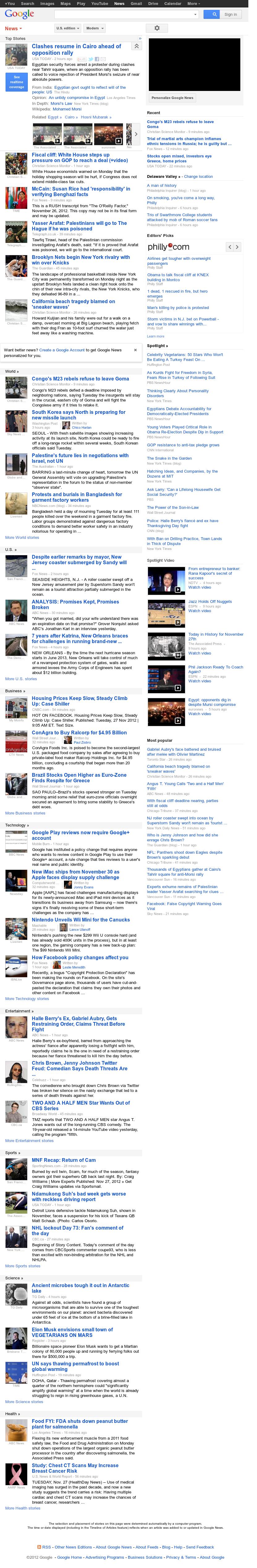 Google News at Tuesday Nov. 27, 2012, 3:09 p.m. UTC