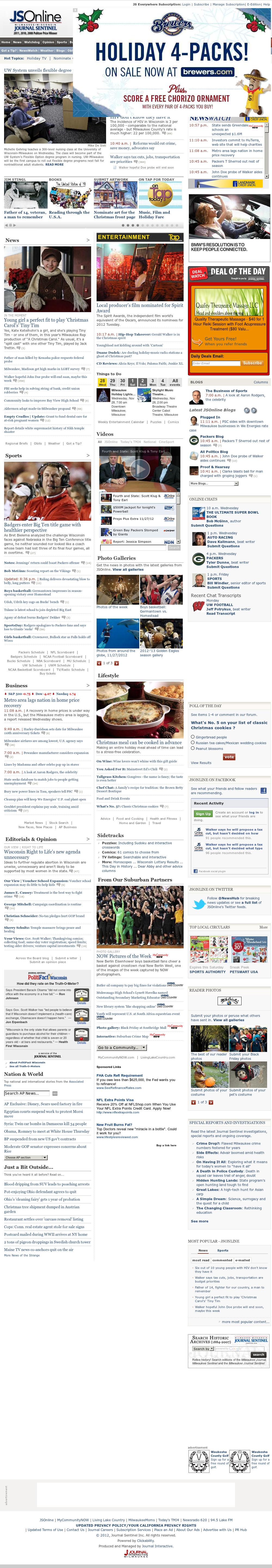 Milwaukee Journal Sentinel at Wednesday Nov. 28, 2012, 5:19 p.m. UTC