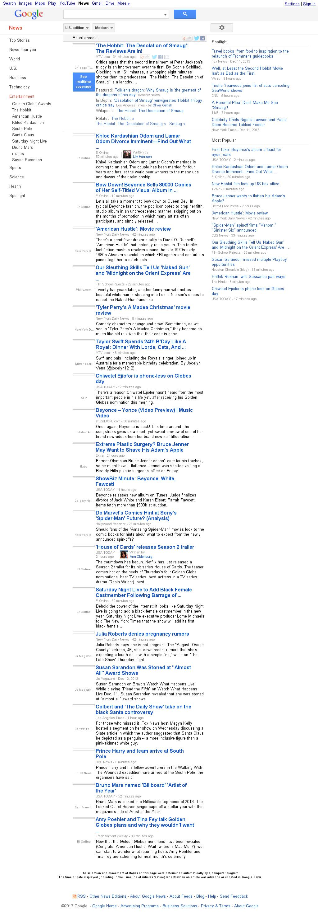 Google News: Entertainment at Friday Dec. 13, 2013, 9:06 p.m. UTC