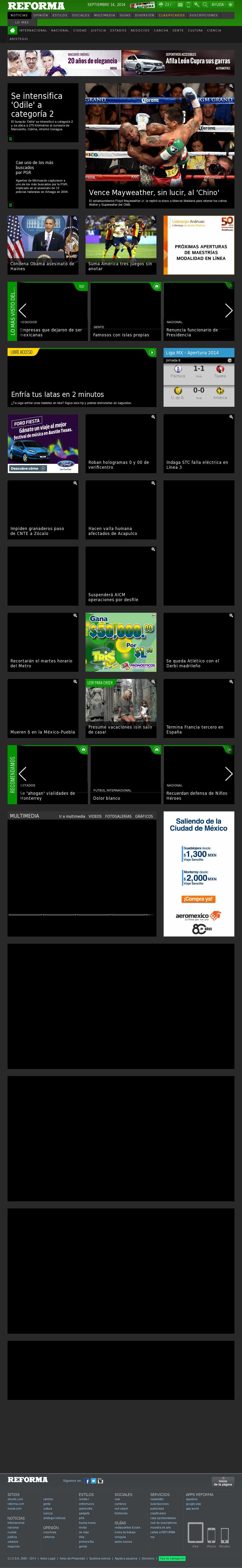 Reforma.com at Sunday Sept. 14, 2014, 5:14 a.m. UTC