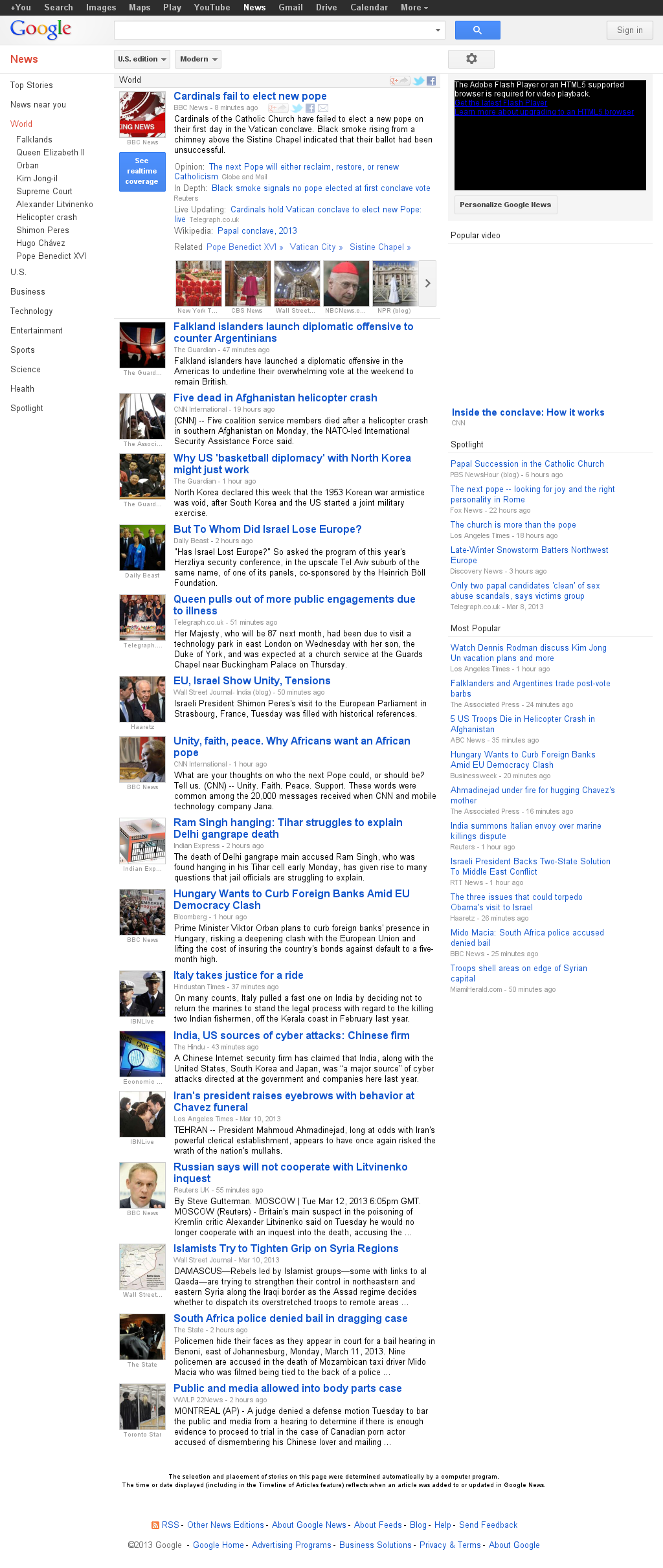 Google News: World at Tuesday March 12, 2013, 7:08 p.m. UTC