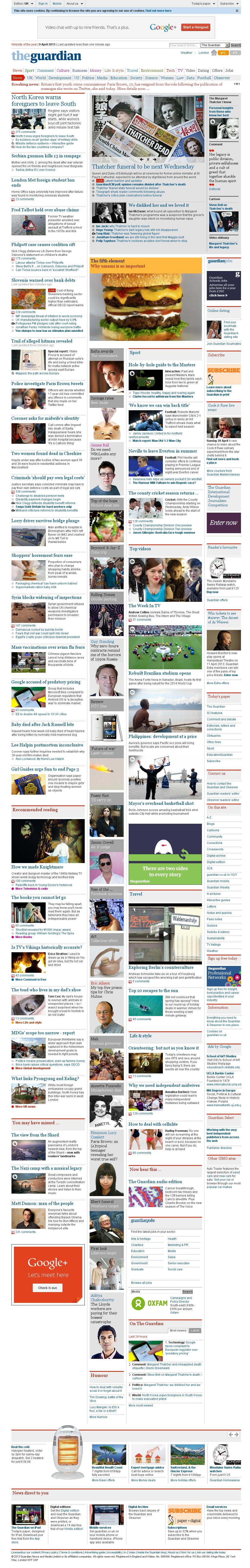 The Guardian at Tuesday April 9, 2013, 3:17 p.m. UTC